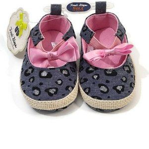 FIRST STEPS Pink Bow Animal Print Shoe…